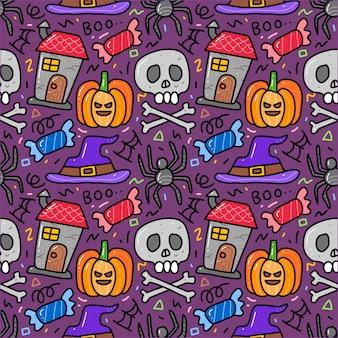 Nahtloses muster gekritzel des halloween-elements.