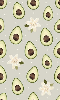 Nahtloses muster geschnittene avocado mit blume