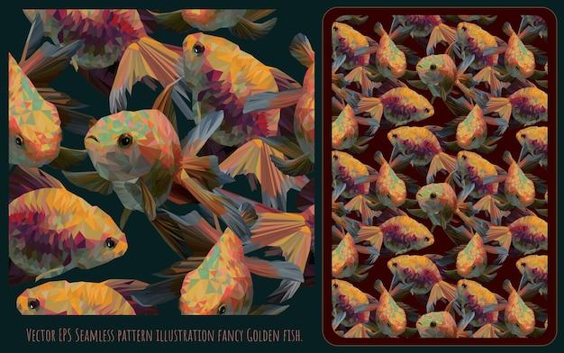 Nahtloses muster gezeichnete illustrationshand gezeichnete kunst des goldenen fischschwimmens der überlappung.