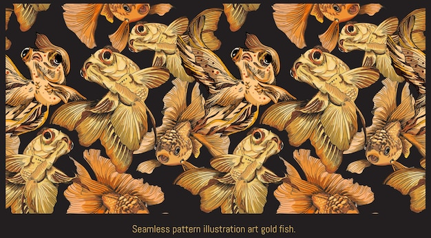Nahtloses muster gezeichnete illustrationshand gezeichnete kunst des goldenen fischschwimmens.