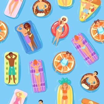 Nahtloses muster, glückliche leute und schwimmen auf wasser, leere druckbare vorlage, sommerstrand, karikaturillustration.