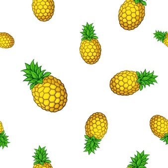 Nahtloses muster große und kleine frische tropische früchte ananas vektorillustration