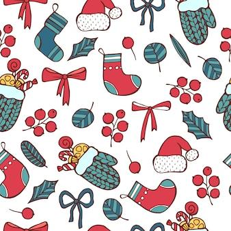 Nahtloses muster guten rutsch ins neue jahr, weihnachtstag