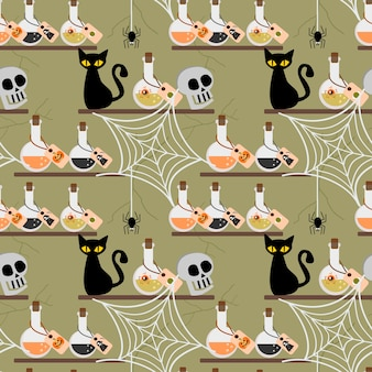 Nahtloses muster halloween-giftes