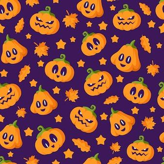 Nahtloses muster halloween - kürbislaternen mit unheimlichen gesichtern auf dunklem hintergrund