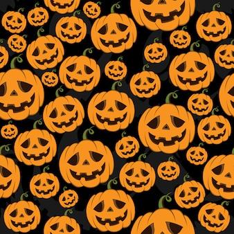 Nahtloses muster halloween kürbisse