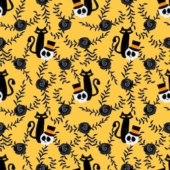 Nahtloses muster halloween-schädels und der schwarzen katze.