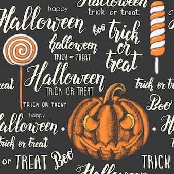 Nahtloses muster halloweens mit hand gezeichnetem kürbis, süßigkeiten und handgemachter beschriftung