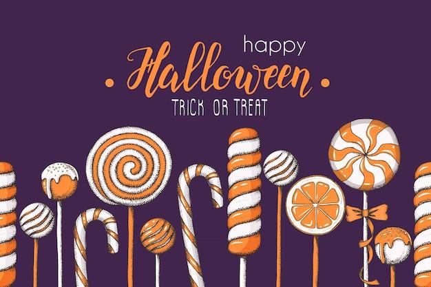Nahtloses muster halloweens mit hand gezeichneten farbigen süßigkeiten