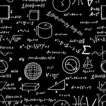 Nahtloses muster, hand gezeichnete mathematische formeln und zeichen