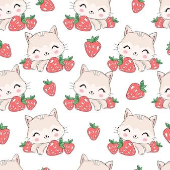 Nahtloses muster hand gezeichnete niedliche katze und erdbeere