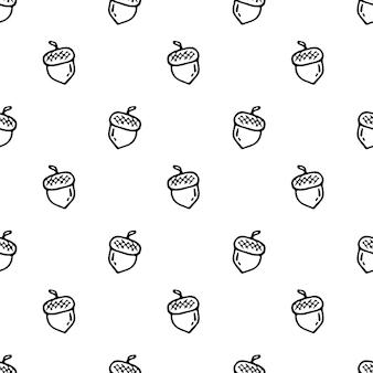 Nahtloses muster hand gezeichnetes eichelgekritzel. skizze zurück zur schule, symbol. dekorationselement. isoliert auf weißem hintergrund. vektor-illustration.