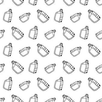 Nahtloses muster hand gezeichnetes kanistergekritzel. symbol für den skizzenstil. dekorationselement. isoliert auf weißem hintergrund. flaches design. vektor-illustration.