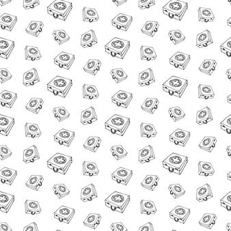 Nahtloses muster handgezeichnete erste-hilfe-set doodle. symbol für den skizzenstil. dekorationselement. isoliert auf weißem hintergrund. flaches design. vektor-illustration.