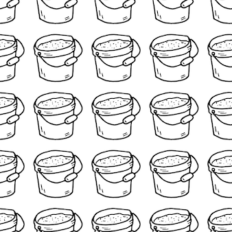 Nahtloses muster handgezeichnete sandeimer gekritzel. symbol für den skizzenstil. dekorationselement. isoliert auf weißem hintergrund. flaches design. vektor-illustration.