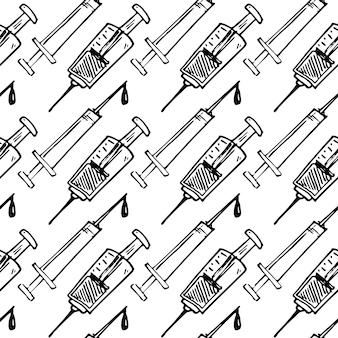 Nahtloses muster handgezeichnete spritze gekritzel. symbol für den skizzenstil. dekorationselement. isoliert auf weißem hintergrund. flaches design. vektor-illustration.