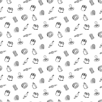 Nahtloses muster handgezeichneter vektor-illustrationssatz von autoteilen zeichen und symbol kritzelt elemente. isoliert auf weißem hintergrund.