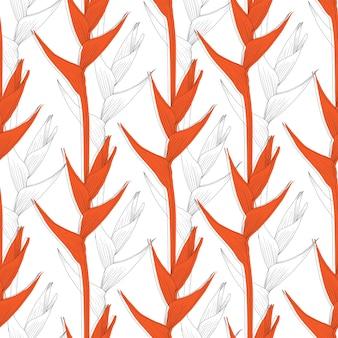 Nahtloses muster heliconia blume abstrakten hintergrund. strichzeichnungen.