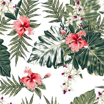 Nahtloses muster hibiskus, frangipani und orchidee blüht abstrakten hintergrund.
