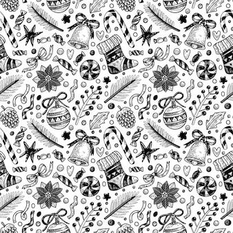 Nahtloses muster im doodle-stil für weihnachten