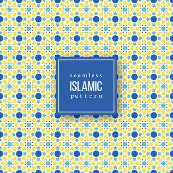 Nahtloses muster im islamischen traditionellen stil. blaue, gelbe und weiße farben.