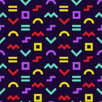 Nahtloses muster im memphis-stil. hintergrund der geometrischen formen mit dunklem hintergrund. geschenkpapier textur.