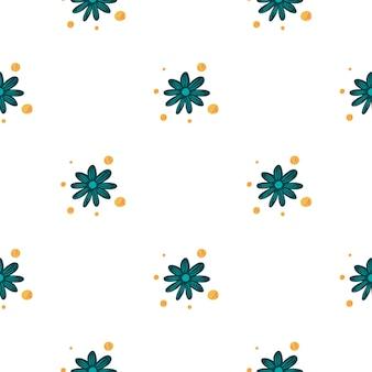 Nahtloses muster im minimalistischen stil mit hellblauen kleinen kamillenblüten drucken. isolierte kulisse. grafikdesign für packpapier und stofftexturen. vektor-illustration.