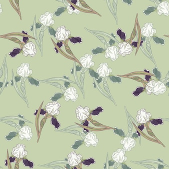 Nahtloses muster im vintage-stil mit doodle-iris-blumenverzierung. hellgrüner hintergrund. vektorillustration für saisonale textildrucke, stoffe, banner, hintergründe und tapeten.