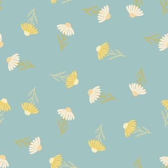 Nahtloses muster im vintage-stil mit zufälligem weißen und gelben kamillenblütendruck