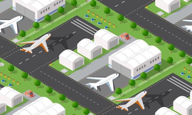 Nahtloses muster isometrischer stadtflughafen mit transportflugzeugen und landebahn