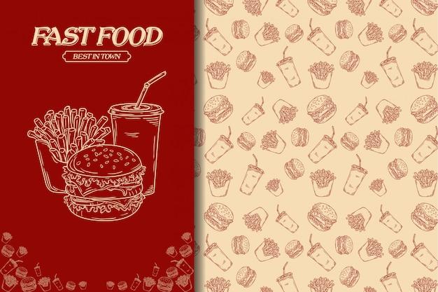 Nahtloses muster junkfood