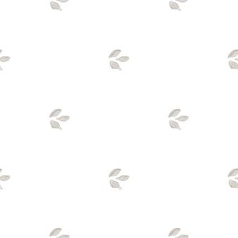Nahtloses muster kardamom auf weißem hintergrund. niedliche pflanzenskizze ornament. geometrische texturvorlage für stoff. design-vektor-illustration.