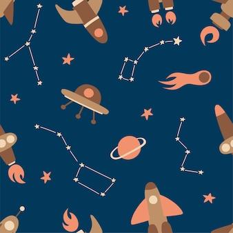 Nahtloses muster kosmischer elemente. raketen, raumschiffe, planeten, kometen, tierkreise und sterne am dunklen himmel.