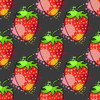 Nahtloses muster kühle nette bunte gesunde frucht-erdbeere. muster geeignet für poster, postkarten, stoff oder geschenkpapier.