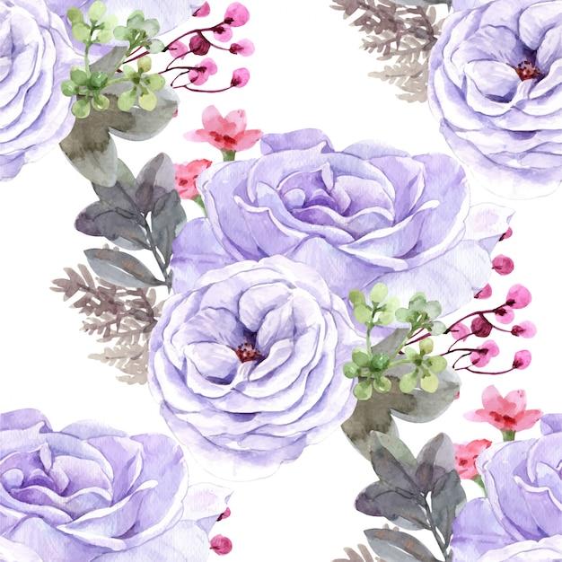 Nahtloses muster lila rose.