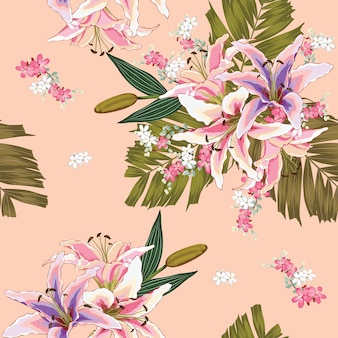 Nahtloses muster lilly blüht auf rosa pastellhintergrund.
