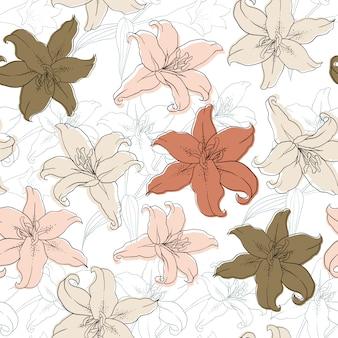 Nahtloses muster lilly blüht weinlesezusammenfassungshintergrund.