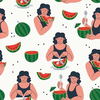 Nahtloses muster lustiges karikaturmädchen, das wassermelone sommer wiederholter druck isst