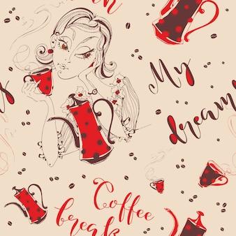 Nahtloses muster. mädchen trinkt kaffee. kaffeepause. mein traum.