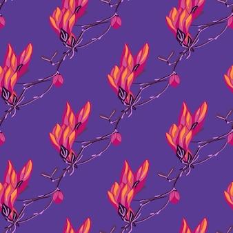 Nahtloses muster magnolien auf purpurrotem hintergrund. schöne textur mit leuchtend roten blüten. geometrische blumenvorlage für stoff. design-vektor-illustration.