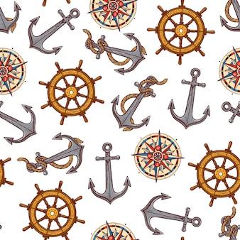 Nahtloses muster maritimer elemente
