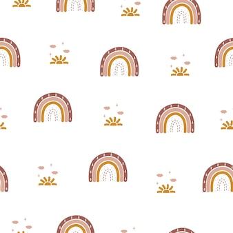 Nahtloses muster mit abstraktem regenbogen und sonne.