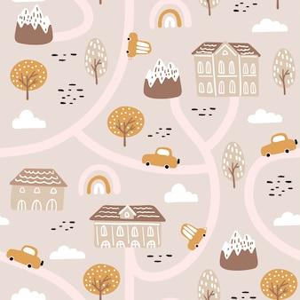 Nahtloses muster mit abstraktem stadtleben, häusern, autos und floralen elementen.