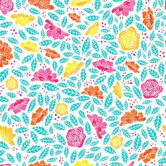 Nahtloses muster mit abstrakten blüten und blättern