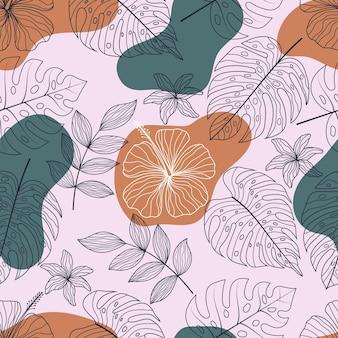 Nahtloses muster mit abstrakten botanischen floralen tropischen blättern strichzeichnungen stil