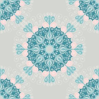 Nahtloses muster mit abstrakten elementen, damastfliesen