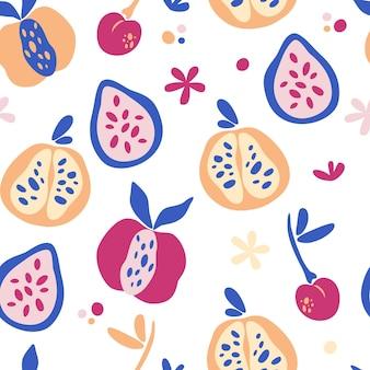 Nahtloses muster mit abstrakten tropischen früchten. trendige handgezeichnete texturen. modernes abstraktes design für papier, cover, stoff, inneneinrichtung und andere benutzer. obst-mix-hintergrund. vektor-illustration.