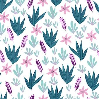 Nahtloses muster mit abstrakten tropischen palmblättern und blumen. vektor-illustration.