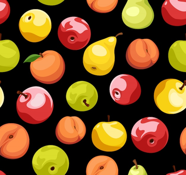 Nahtloses muster mit äpfeln, birnen und pfirsichen