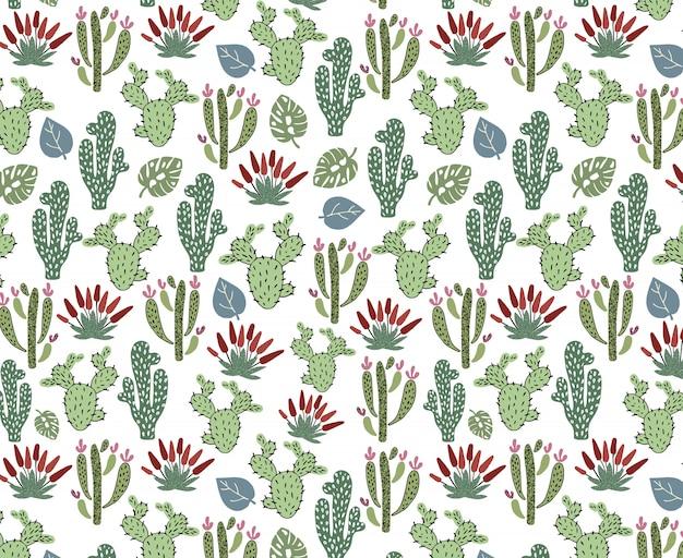 Nahtloses muster mit afrikanischem kaktus